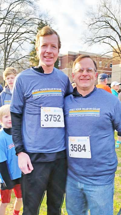 Drs. William Warlick and Kevin Roof before Get Your Rear in Gear Walk