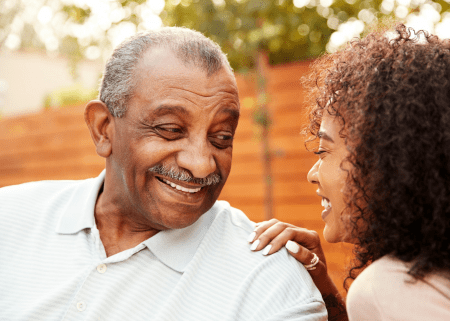 65-year old Black Male with Prostate Cancer talking to his daughter